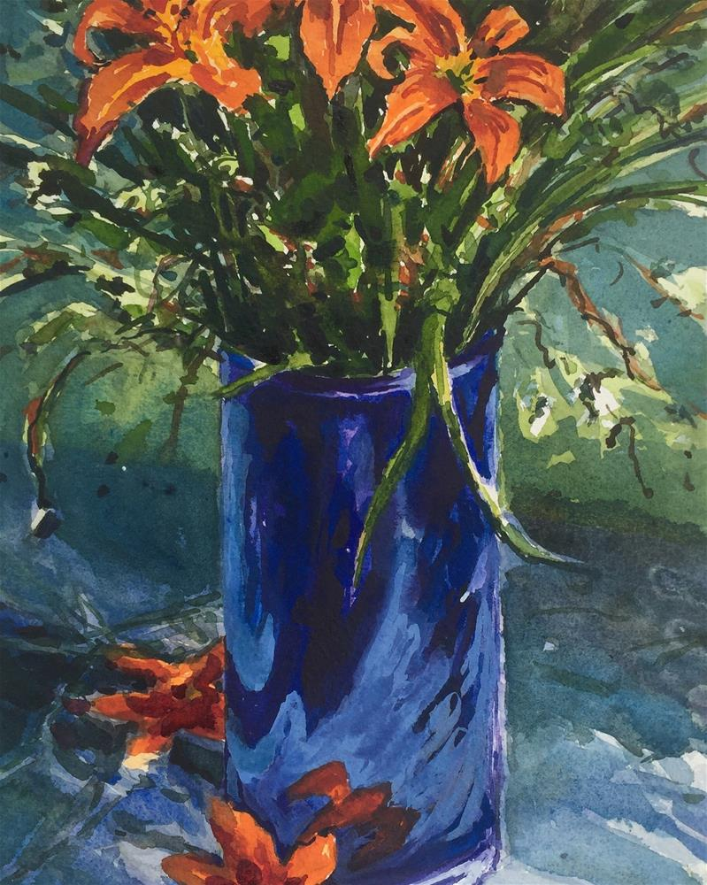 """""""Tiger Lilies in Blue Vase"""" original fine art by Laurie Maher"""