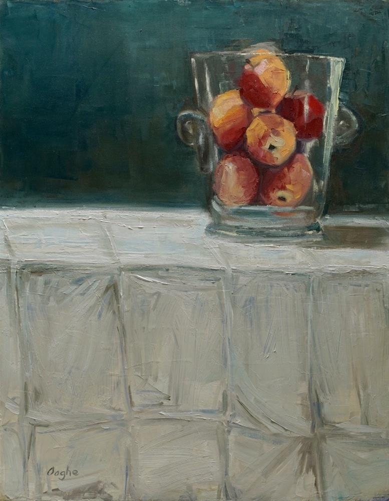 """Apples in Glass Vase"" original fine art by Angela Ooghe"