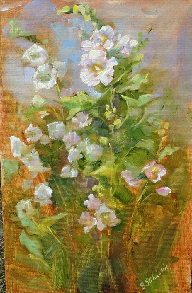 """Merizon's Hollyhocks"" original fine art by Barbara Schilling"