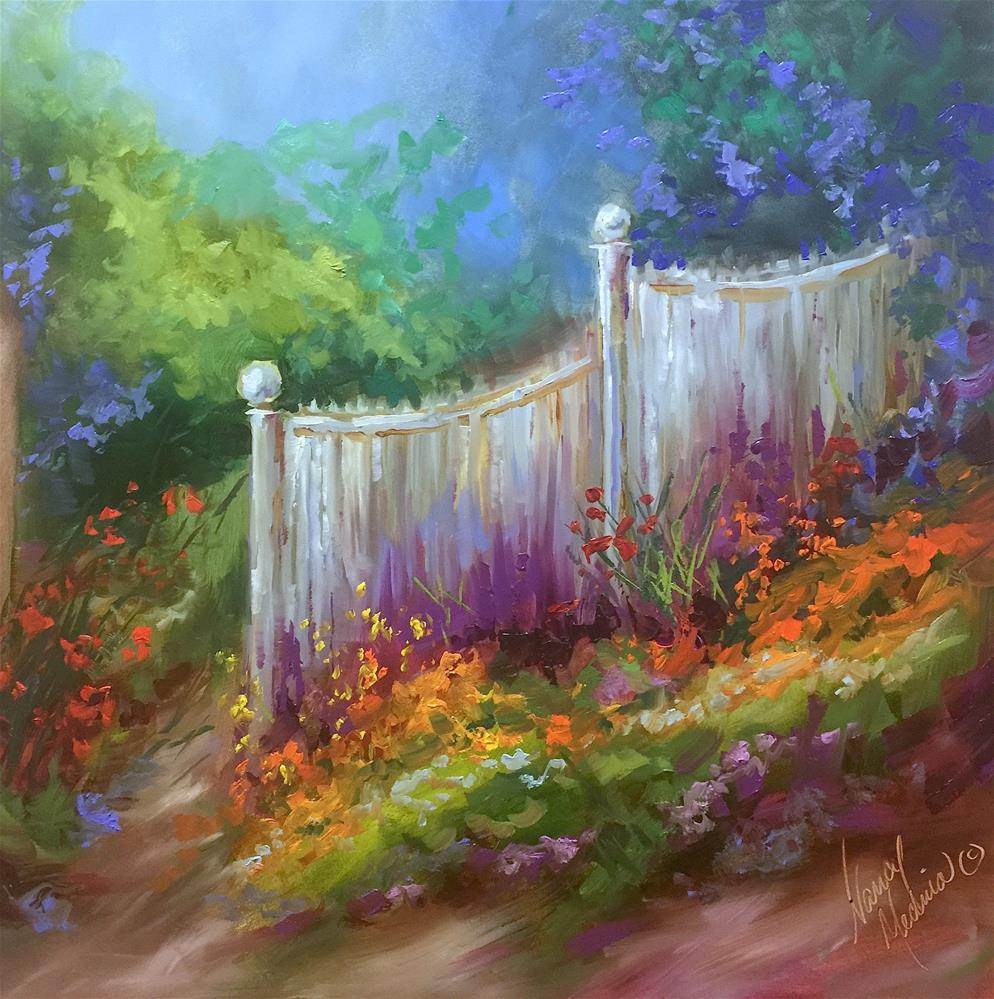 """Wild Garden Cottage Path"" original fine art by Nancy Medina"