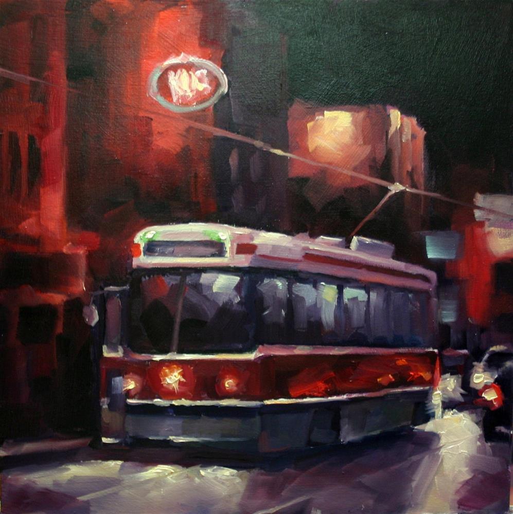 """Night Rider, 504 Toronto Streetcar"" original fine art by Catherine Jeffrey"