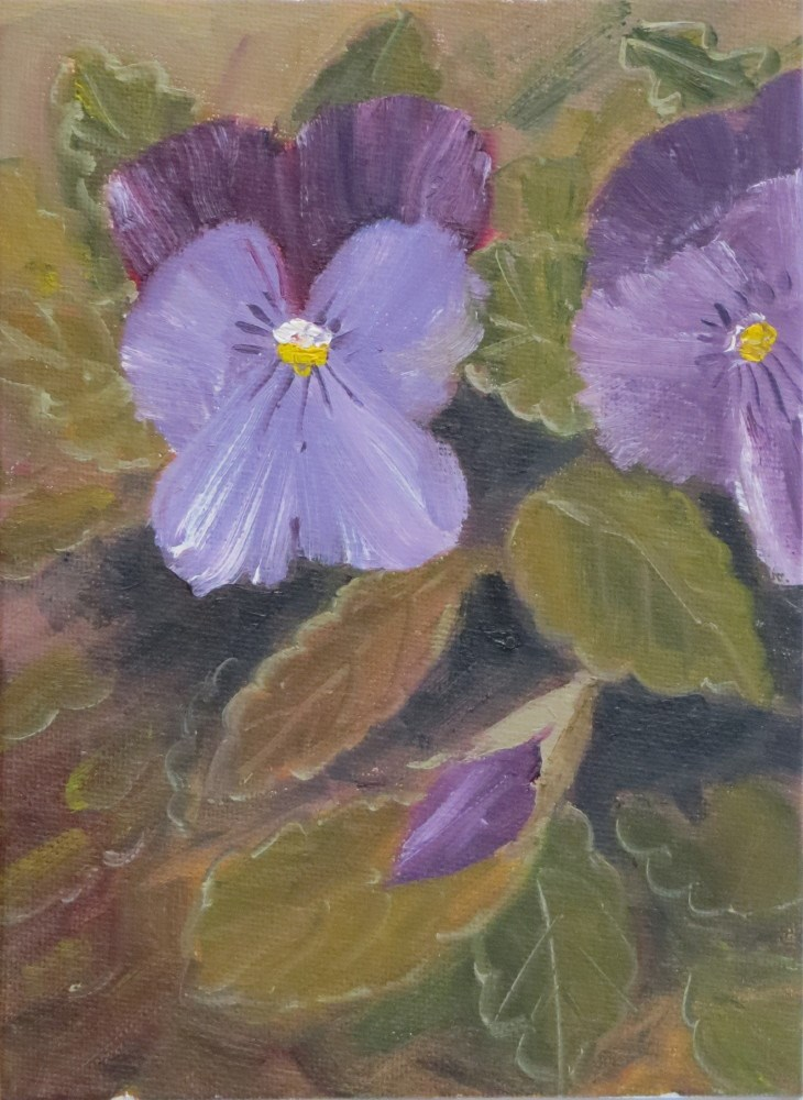 """Lavender Pansies"" original fine art by Richard Kiehn"