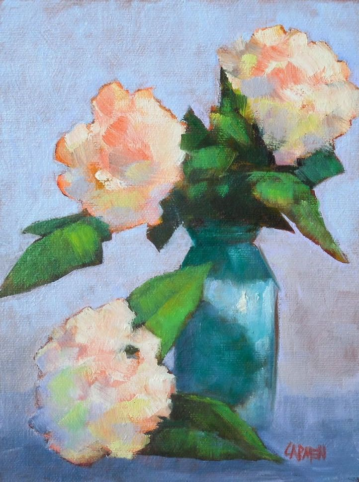 """White Hydrangeas, 6x8 Oil on Canvas Panel, Floral Painting"" original fine art by Carmen Beecher"