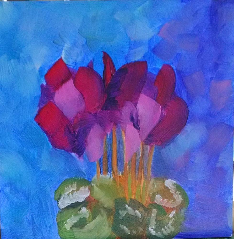 """Angel Wings Cyclamen"" original fine art by Kathy Fleming"