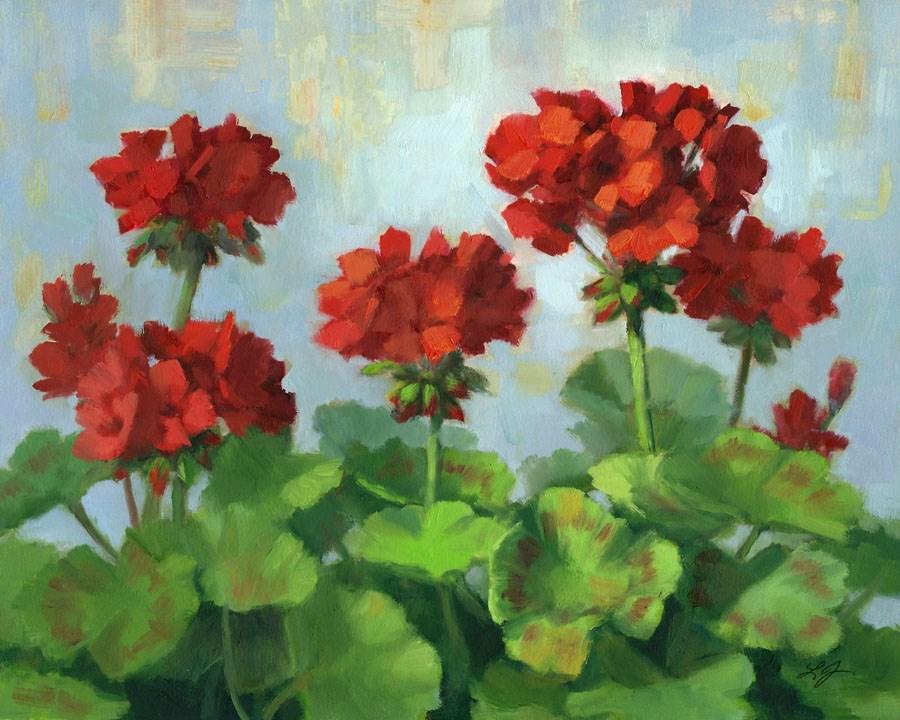 """Geraniums Flocked"" original fine art by Linda Jacobus"