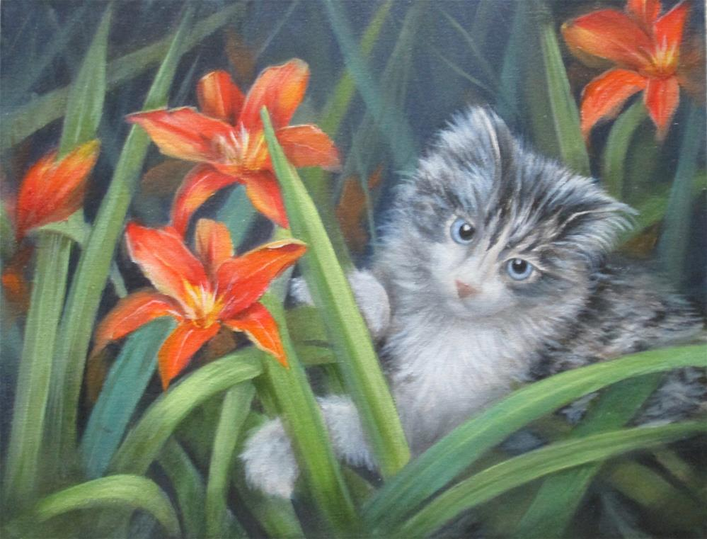 """Kitty in the Lillies"" original fine art by Barbara Wagner"