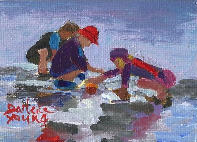 """929 Beach Kids, oil on board, 2.5x3.5"" original fine art by Darlene Young"