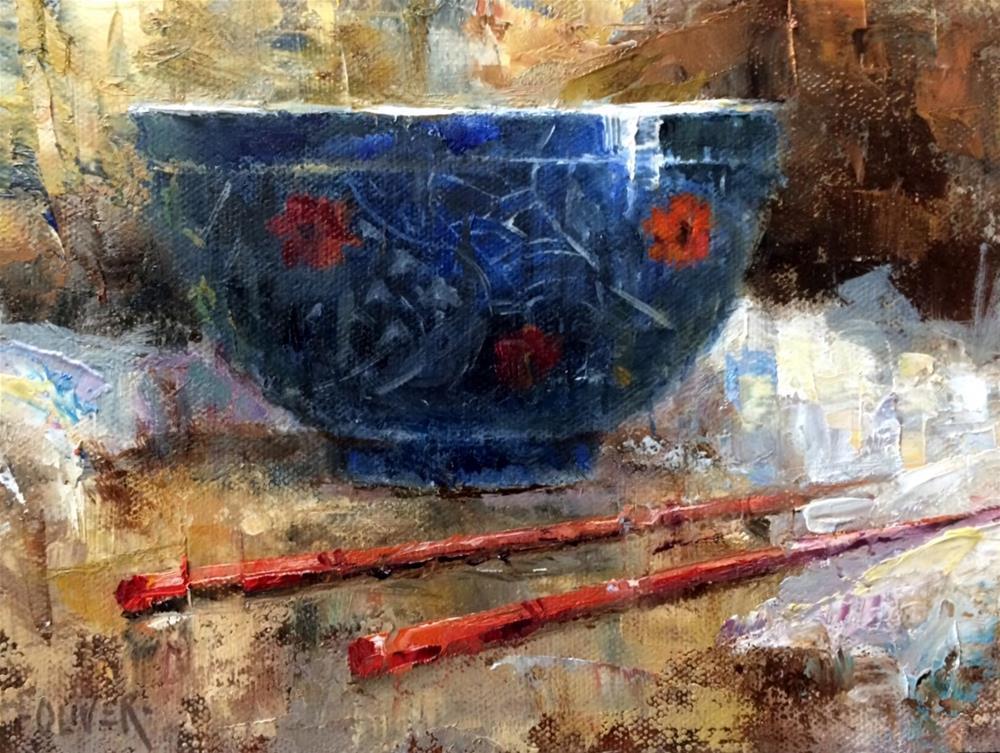 """""""Chopsticks & Bowl"""" original fine art by Julie Ford Oliver"""