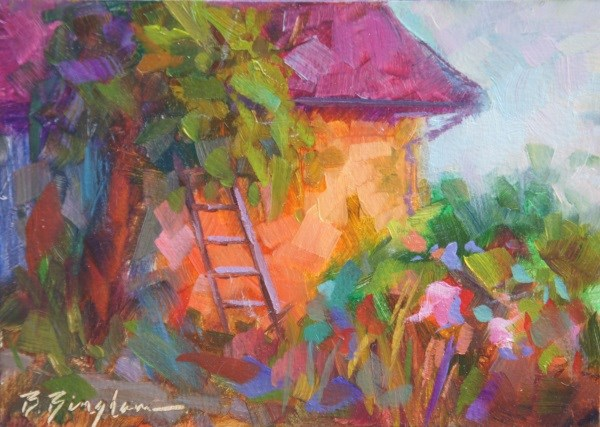"""Pruning Ladder"" original fine art by Bruce Bingham"
