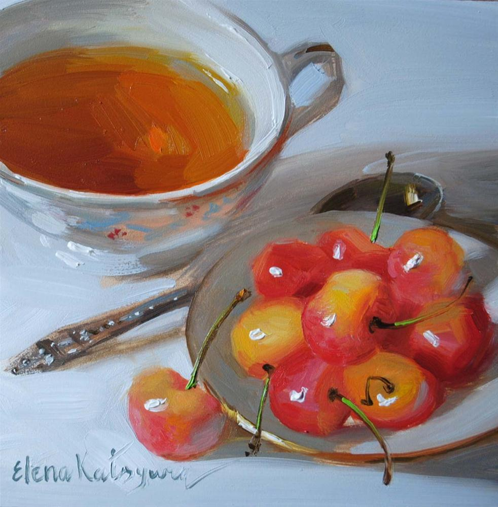 """Tea With Cherries"" original fine art by Elena Katsyura"