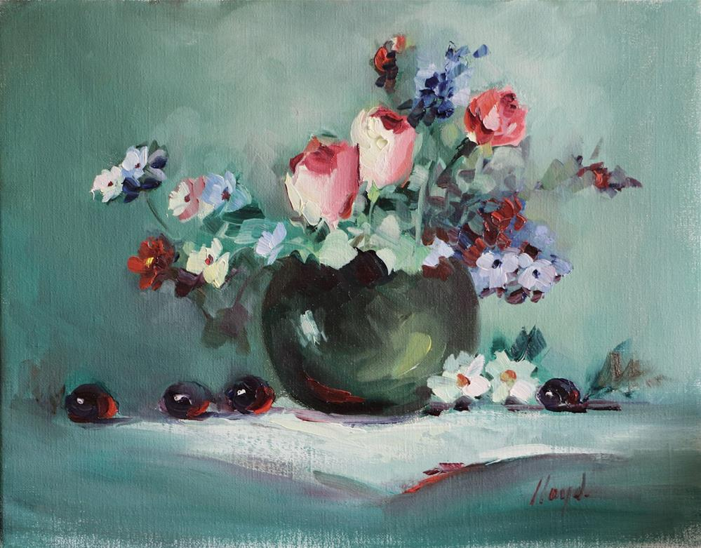 """Rose Buds and Grapes"" original fine art by Diane Lloyd"