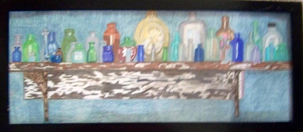 """Susan's Bottle Collection"" original fine art by Elaine Shortall"