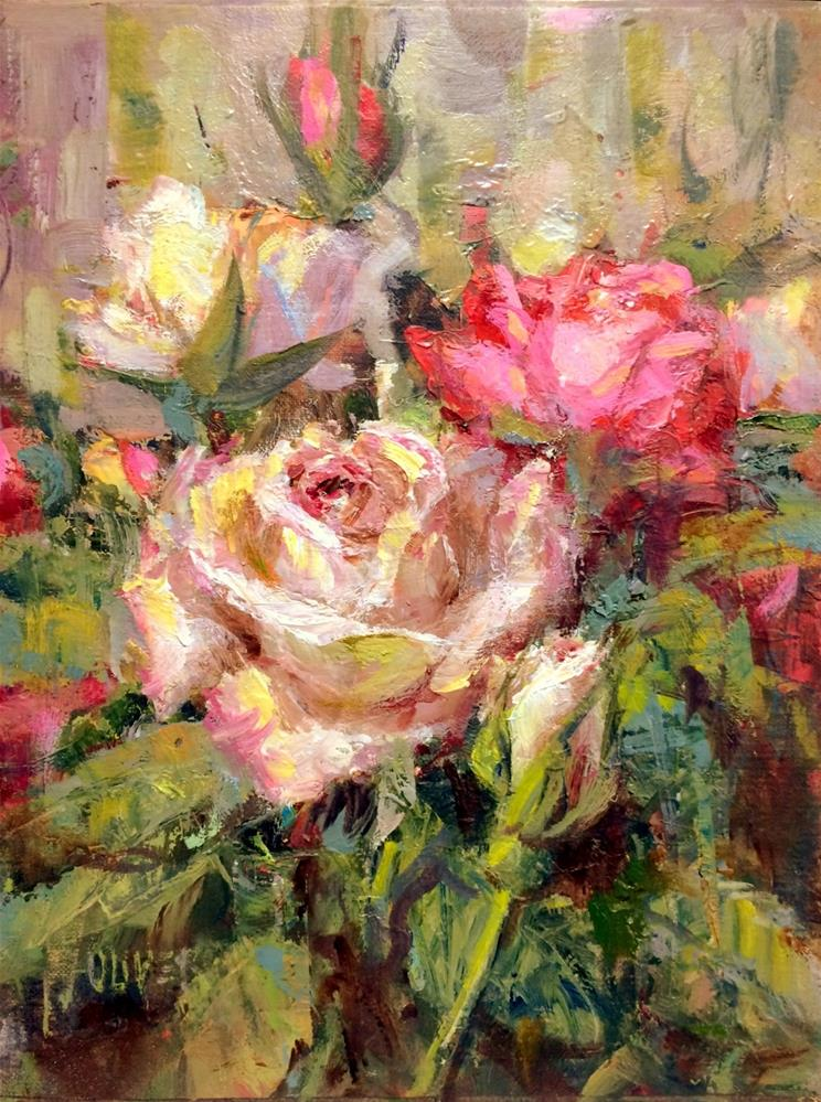 """Garden Roses"" original fine art by Julie Ford Oliver"
