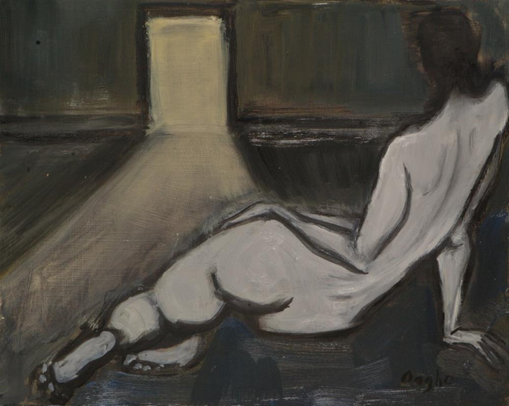 """Nude Looking Through Open Doorway"" original fine art by Angela Ooghe"