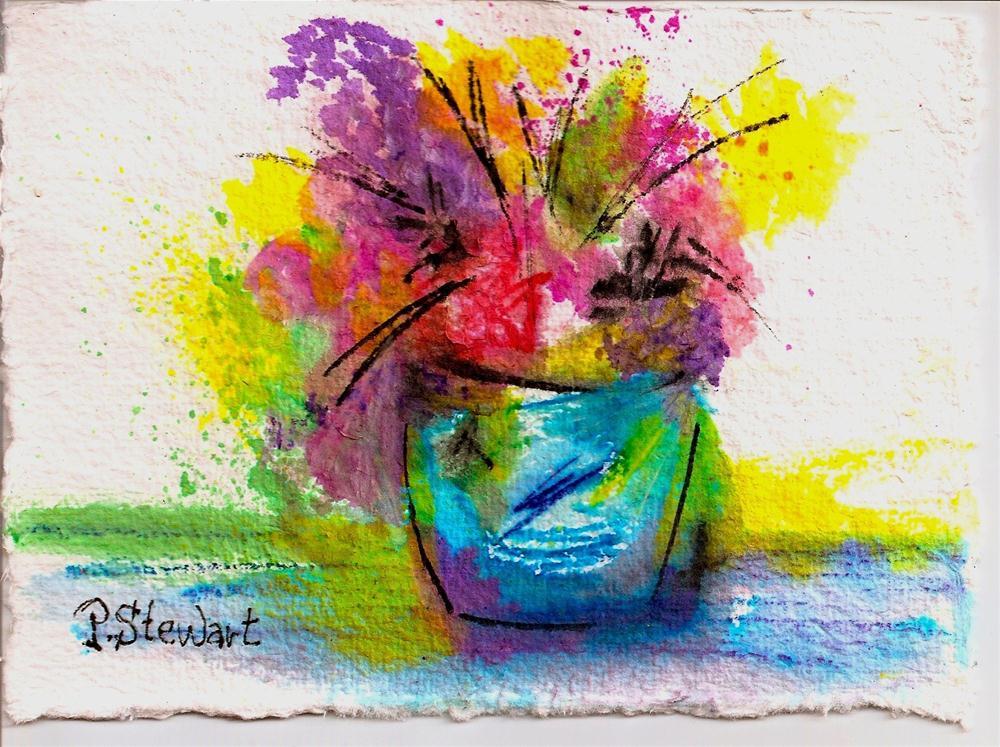 """5x7 Vase of Flowers, Watercolor on Rough Paper"" original fine art by Penny Lee StewArt"
