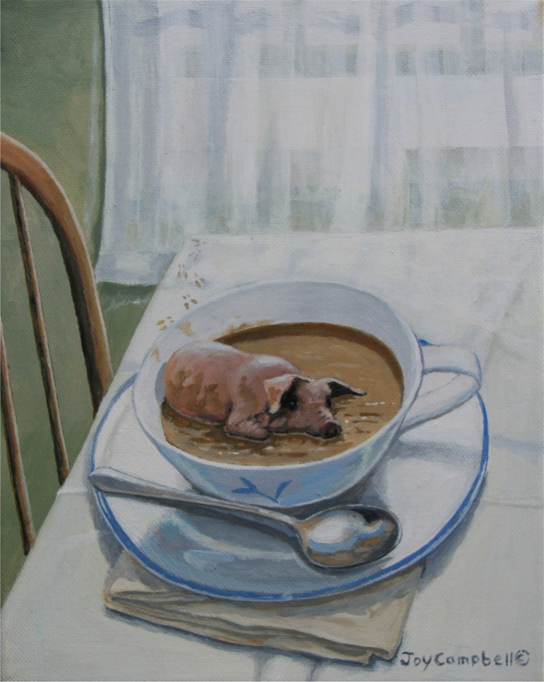 """Pig Soup"" original fine art by Joy Campbell"