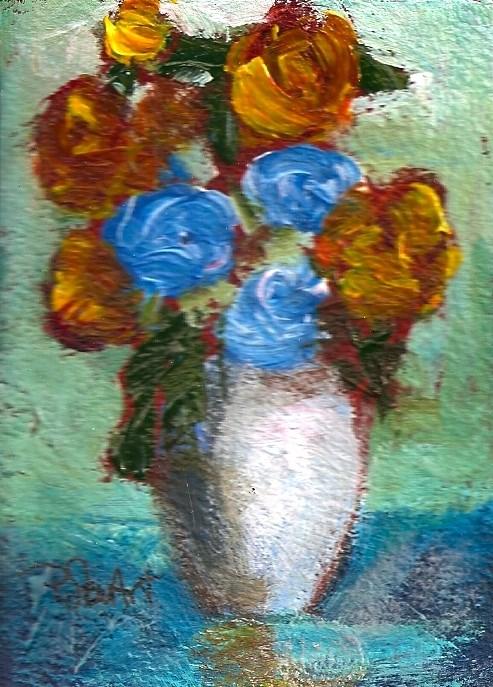 """ACEO 3 Blue Roses Renaissance Impressionist Original Art OOAK SFA Penny StewArt"" original fine art by Penny Lee StewArt"