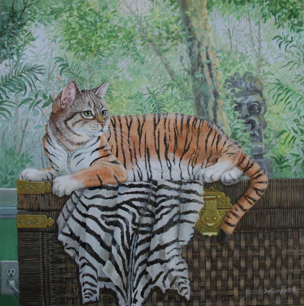 """Cat in a Snug Fitting Tiger Suit"" original fine art by Joy Campbell"