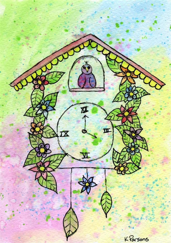 """Cuckoo Clock"" original fine art by Kali Parsons"
