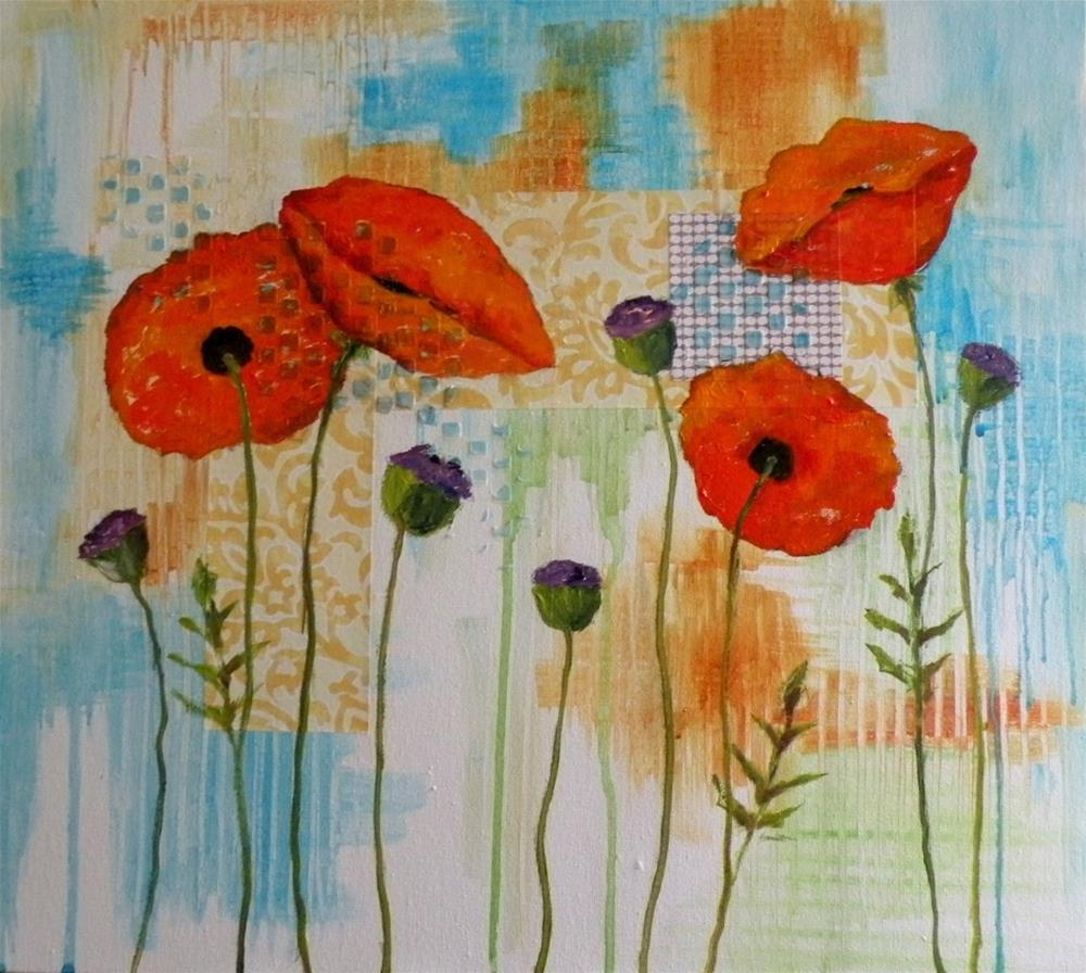 """POPPY BOTANICAL © SAUNDRA LANE GALLOWAY"" original fine art by Saundra Lane Galloway"