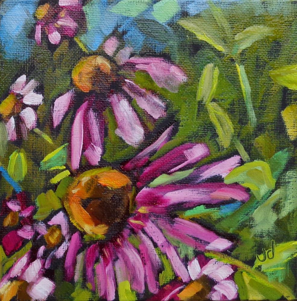 """Cone flower jungle"" original fine art by Jean Delaney"