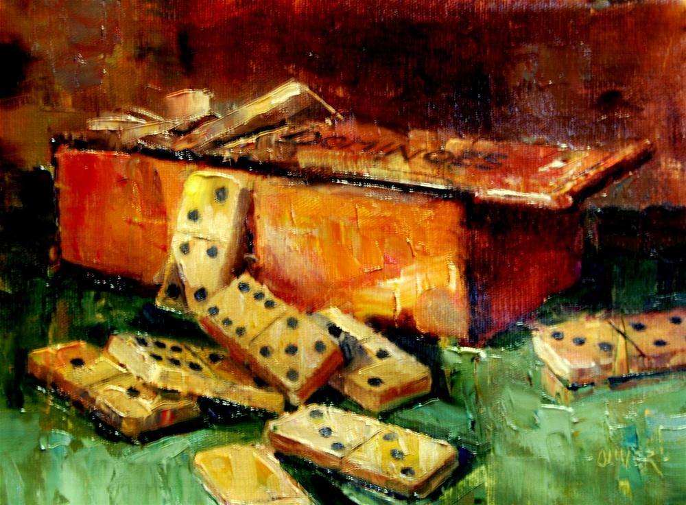 """""""Dominoes Anyone?"""" original fine art by Julie Ford Oliver"""