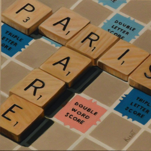 """Paris in Scrabble"" original fine art by Kim Testone"