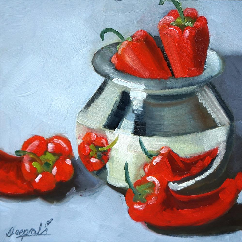 """""""Red peppers with pot"""" original fine art by Dipali Rabadiya"""