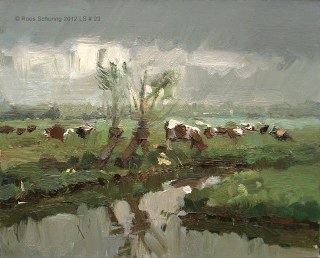 """Landscape spring #23 Willows ditch cows - Koeien"" original fine art by Roos Schuring"