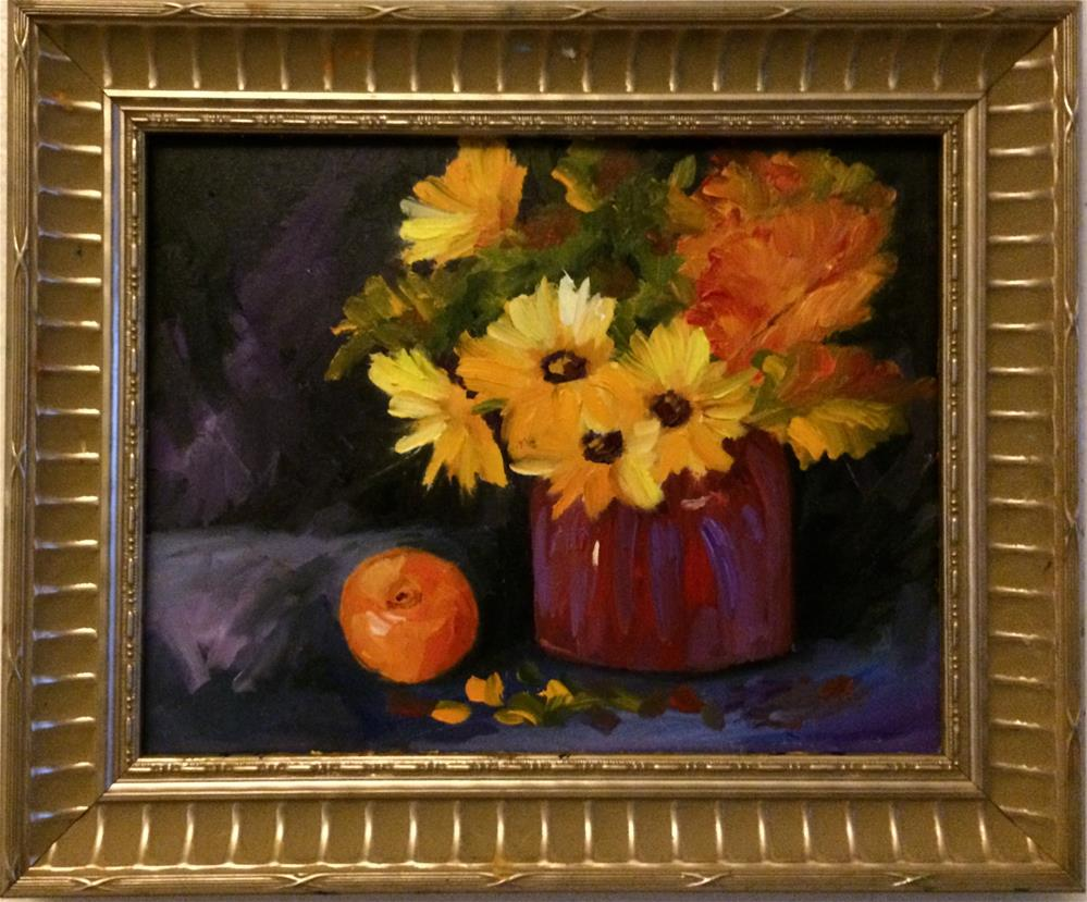 """Sunflowers and Fall leaves"" original fine art by Ramya Sarveshwar"