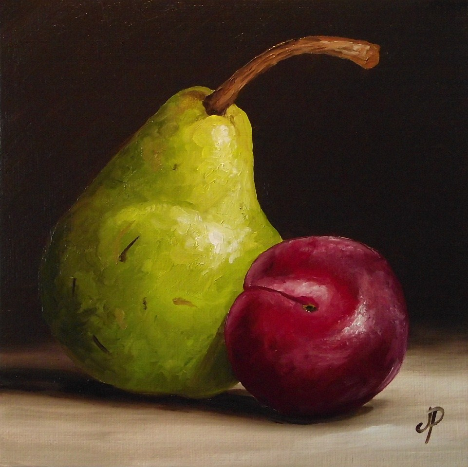 """Pear and Plum"" original fine art by Jane Palmer"