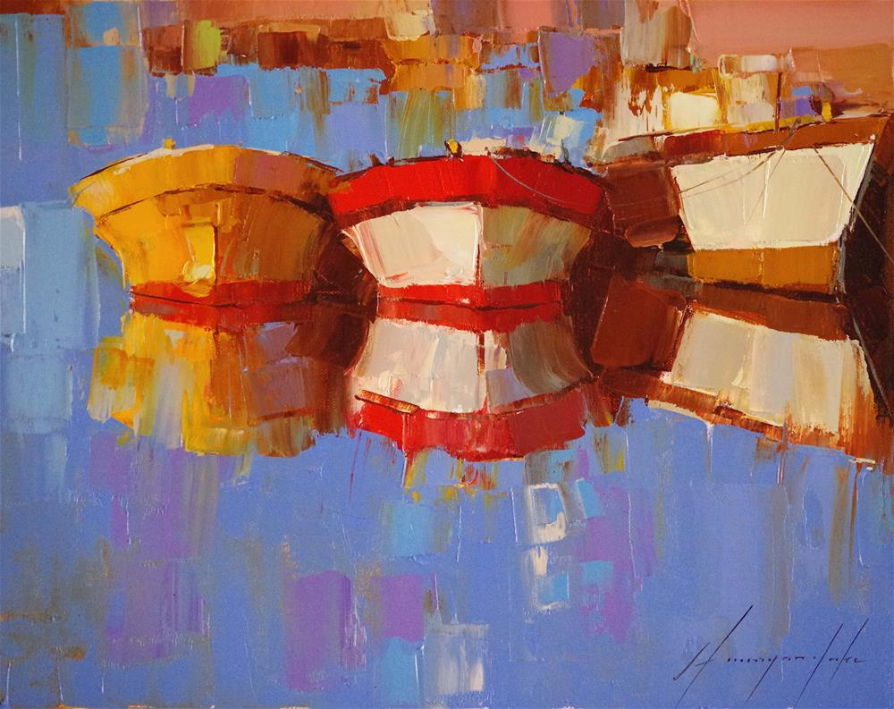 """Boats Reflection Original oil Painting"" original fine art by V Yeremyan"