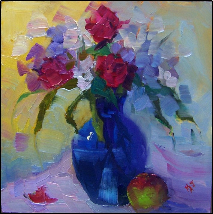 """That's Amore"", 6x6, oil on panel-small still life, roses, apple, love, by maryanne jacobsen original fine art by Maryanne Jacobsen"