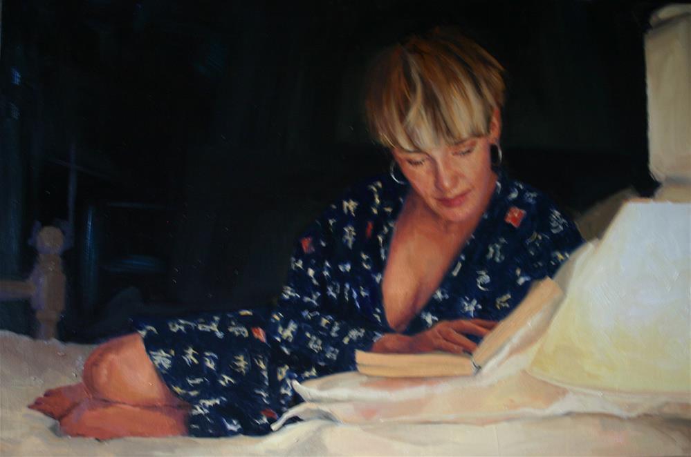 """Reading by lamplight"" original fine art by Liz Balkwill"