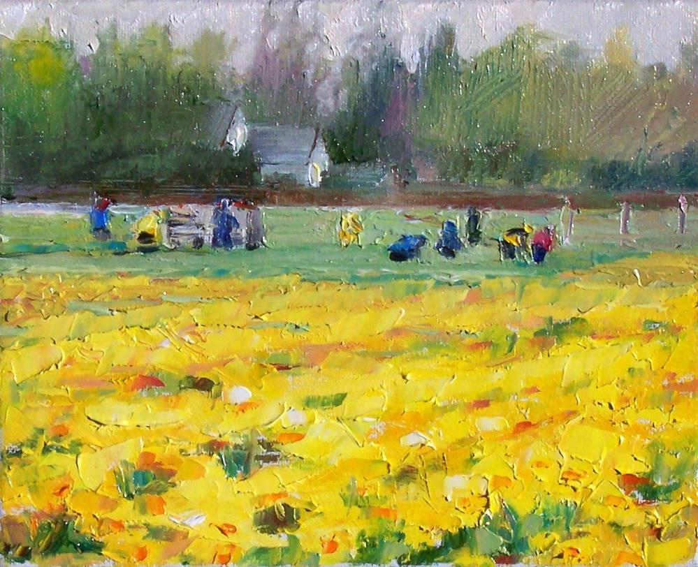"""Spring Daffodils,landscape,oil on canvas,8x10.price$300"" original fine art by Joy Olney"