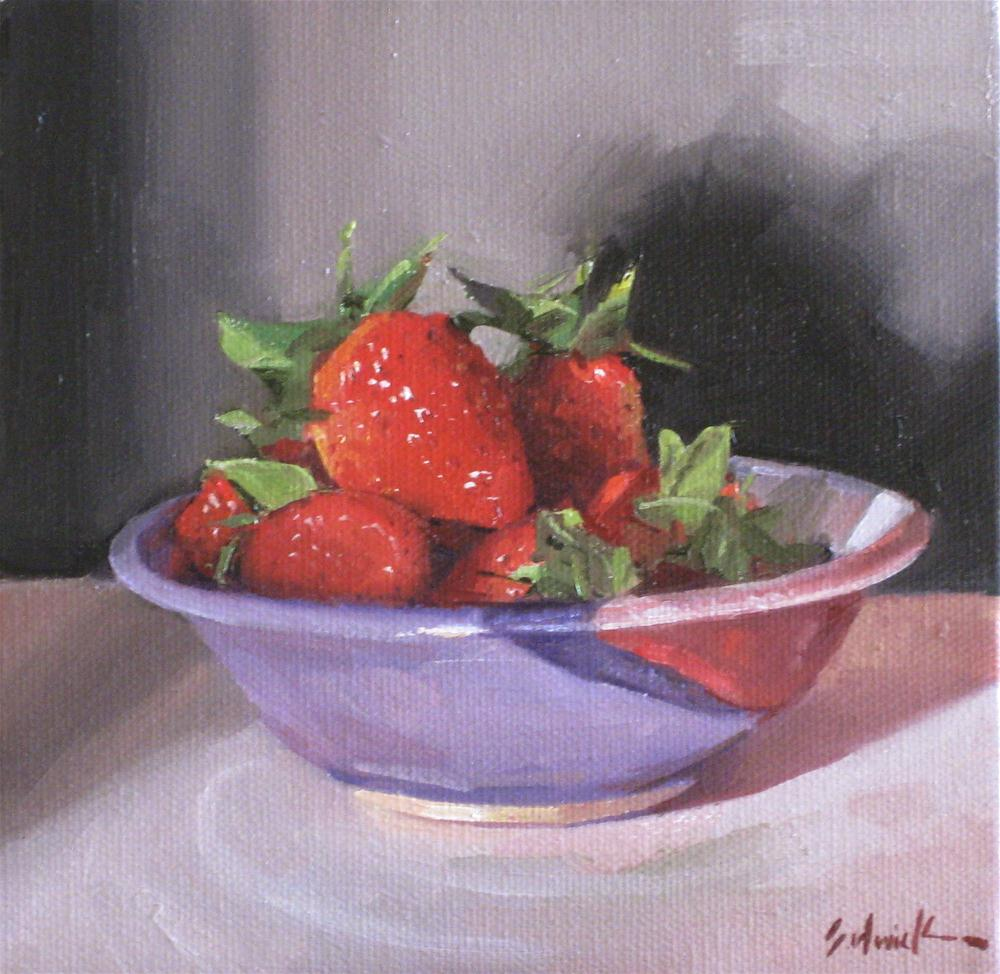 """Strawberries in a Purple Dish"" original fine art by Sarah Sedwick"