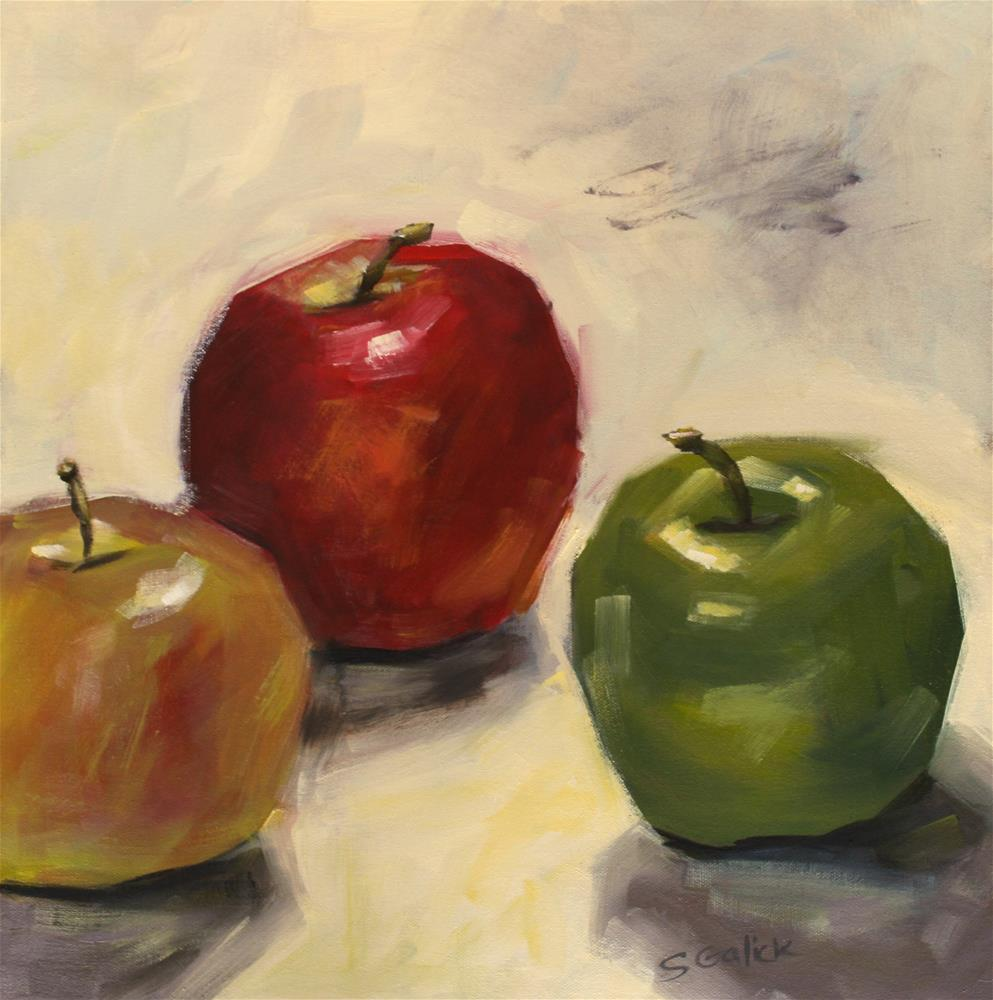 """Tri-Apples"" original fine art by Susan Galick"