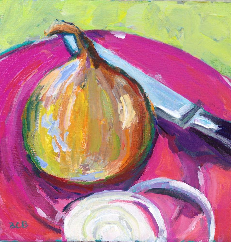 """Onion on Pink Plate"" original fine art by Beth Carrington Brown"