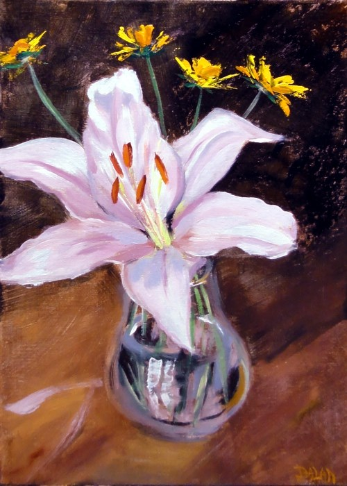 """Single Lily With Coreopsis"" original fine art by Dalan Wells"