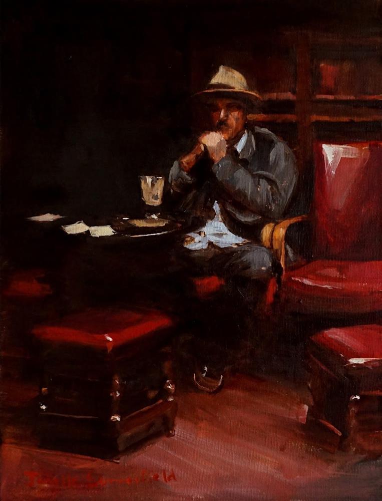 """""""Enjoying a Pint"""" original fine art by Jonelle Summerfield"""