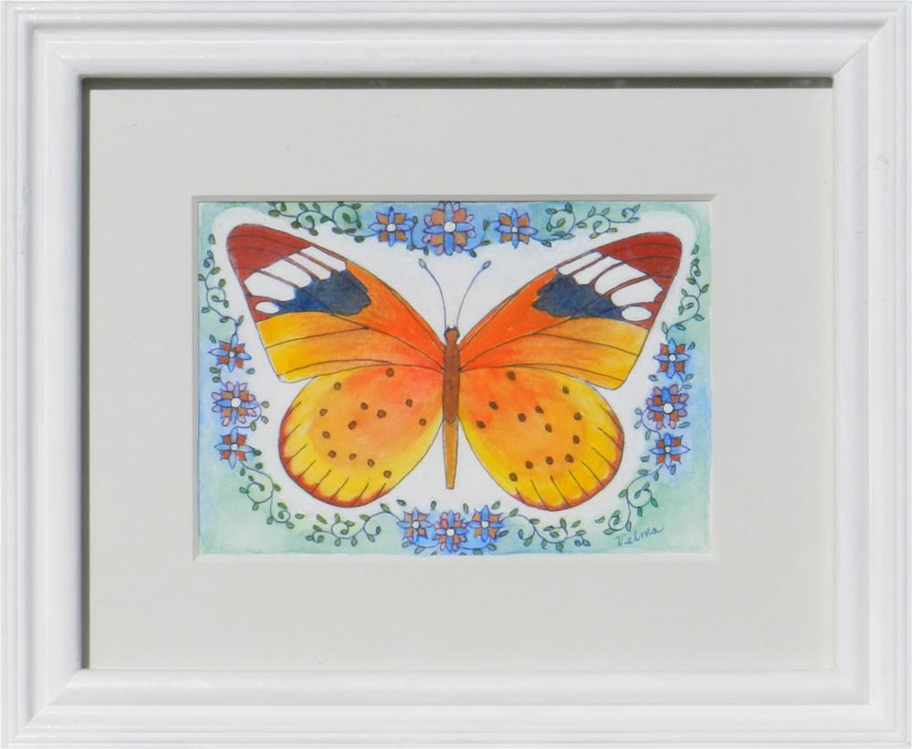 """Yellow Butterfly"" original fine art by Velma Davies"