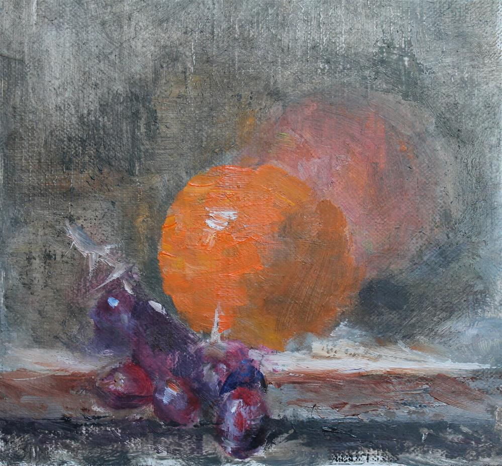"""Grapes and Orange"" original fine art by Karen Solorzano"