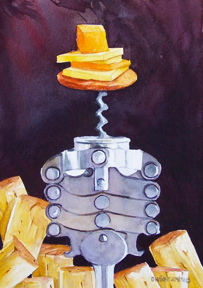 """"""" CHEESE AND WINE """" original fine art by Dwight Smith"""