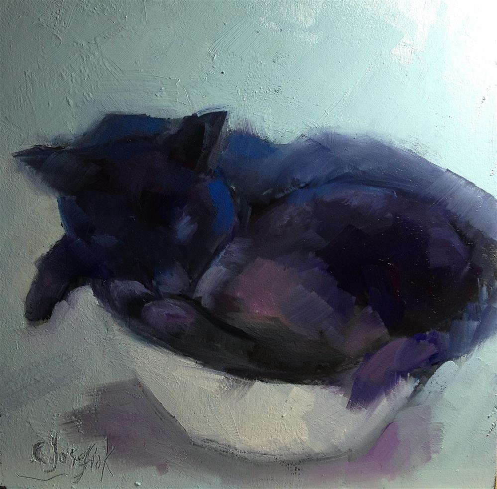 """""""Black Cat in a Bowl"""" original fine art by Carol Josefiak"""