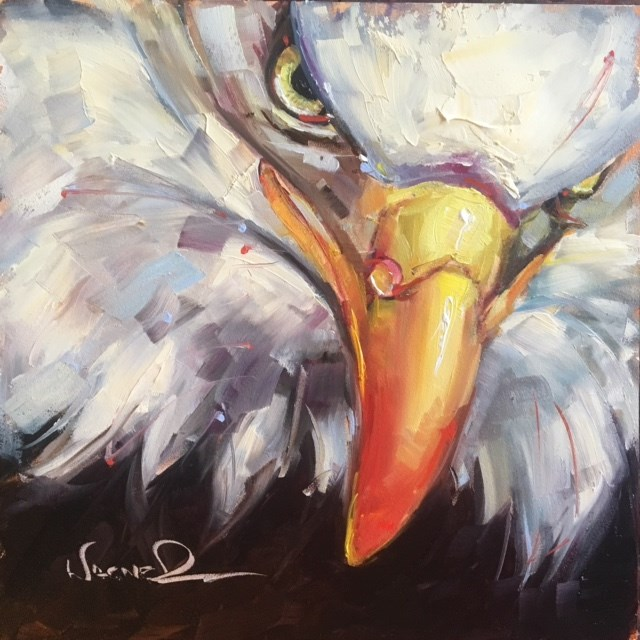 """""""ORIGINAL CONTEMPORARY BALD EAGLE PAINTING in OILS by OLGA WAGNER"""" original fine art by Olga Wagner"""