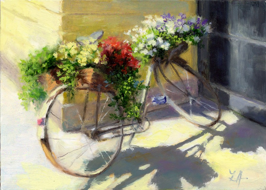 """The Flower Bike"" original fine art by Linda Jacobus"