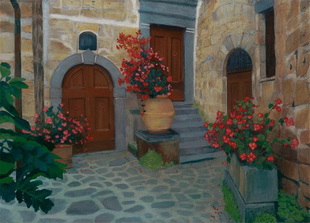 """The Courtyard"" original fine art by Nelia Harper"