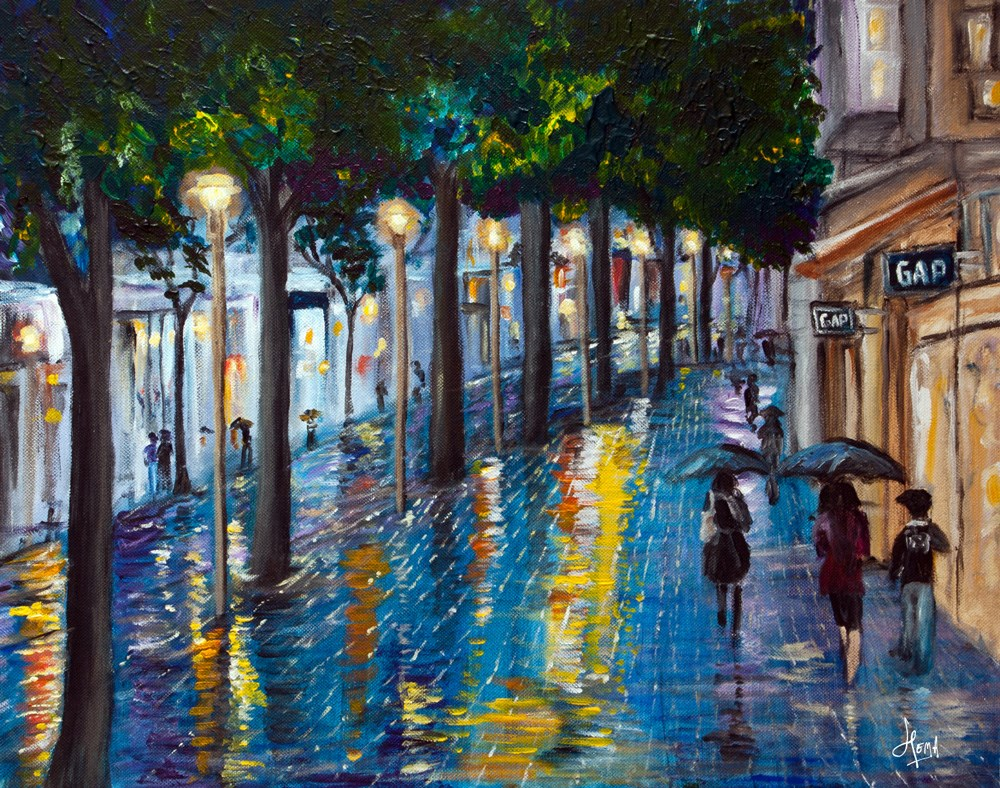 """Downtown Rain"" original fine art by Hema Sukumar"