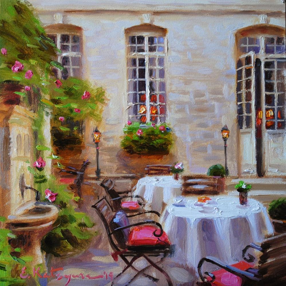 """""""Hotel Courtyard III"""" original fine art by Elena Katsyura"""