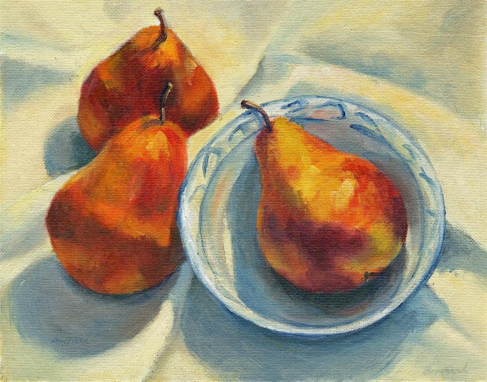 """""""Three Pears"""" original fine art by Vikki Bouffard"""
